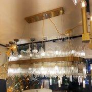 デザイン照明 シーリングシャンデリア20灯 ゴールド(W800×H400mm)