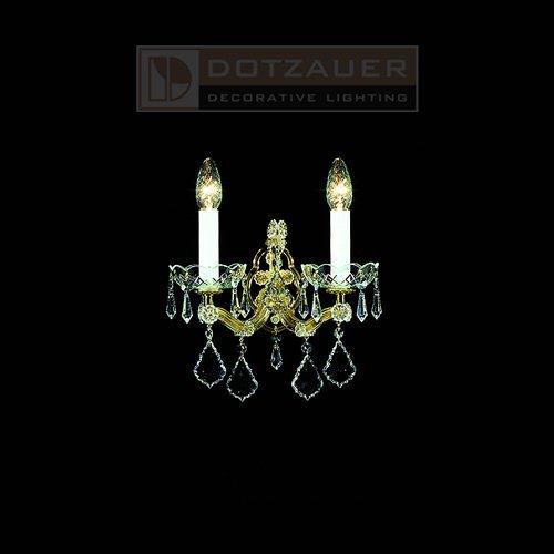【Dotzauer】クリスタルブラケット2灯ゴールド(W280×D190×H270mm)