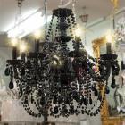 【LA LUCE】</B>チャイニーズクリスタルシャンデリア 8灯 ブラック(W660×H670mm)