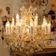 【1台在庫有!】【LA LUCE】クリスタルシャンデリア 19灯(W730×H600mm)