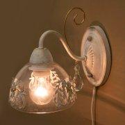 <b>【次回入荷未定】</b>クラシカルウォールランプ1灯「プリシラ」・ホワイトブラッシュゴールド
