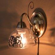 <b>【即納可!】</b>クラシカルウォールランプ1灯「プリシラ」・アンティークブロンズ