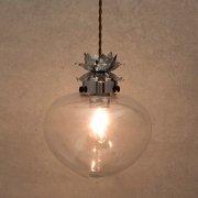 ★<b>【即納可!】</b>ヴィンテージノスタルジック・ボールガラスシェードペンダントランプ1灯・クローム(Φ220mm)