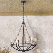 <b>【ORION】</b>インダストリアル・スタイル照明 ロープ6灯(W680×H800mm)