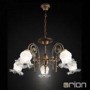 <b>【ORION】</b>クラシカル ガラスシェードシャンデリア ダークアンティークゴールド 5灯 (W750×H350mm)