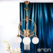 【ORION】</b>ガラスボールシャンデリア アンティークゴールド 4灯(Φ500×H870mm)