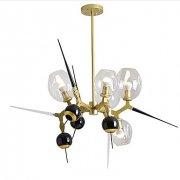 【ZHISHU】ガラスボールシェード・デザイン照明 5灯 ゴールド(約W900×H800mm)