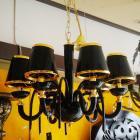【LA LUCE】ブラックシェード デザインシャンデリア 6灯(W650×H550mm)