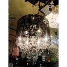 <B>【LA LUCE】</B>ブラックシェードシャンデリア 6灯(W60×H70cm)