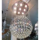 <B>【ALABASTER】</B>ワイヤーアート・クリスタルボールシャンデリア 9灯(W600×H950mm)