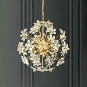 【QIHengZhaoMing】デザインクリスタル照明 10灯 ゴールド(Φ580×H580mm)