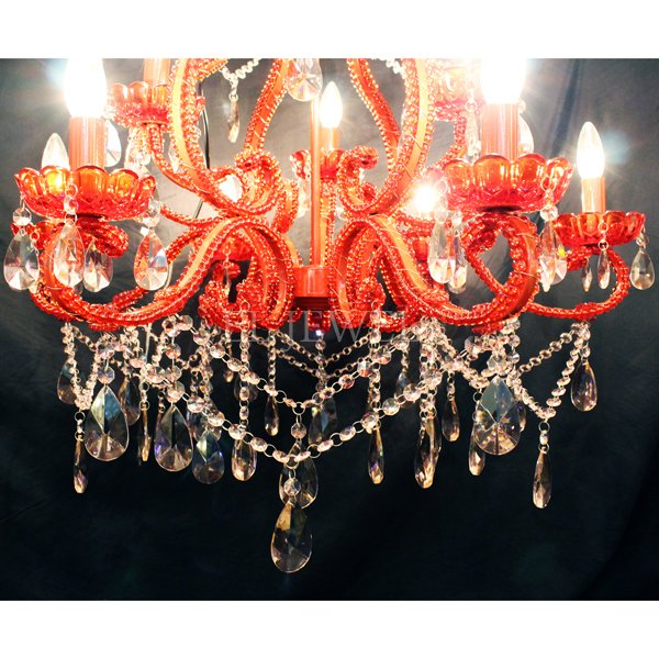 【1台在庫有!】アイアン・レッドシャンデリア「スカーレット」9灯(φ650×H650mm)ピンクパーツ