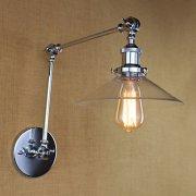 スイングアーム ガラスシェード・ウォールライト 1灯 クローム(W220×H500mm)