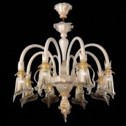 <b>【VENICE ARTE】</b>ヴェネチアンガラスシャンデリア「Bianca」8灯(Φ850×H850mm)※要お見積もり