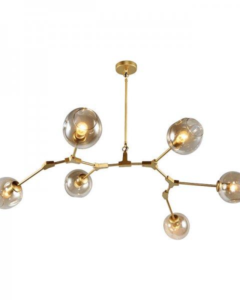 ガラスボールシェード・スプートニクデザイン照明 6灯 ライト・ゴールド(W1400×H850mm)