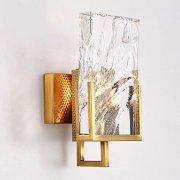 【1台在庫有!】【QIHengZhaoMing】ウォールライト 1灯 ゴールド(W150×D150×H300mm)