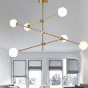 【在庫有!ゴールドのみ】ガラスボールシェード・デザインシャンデリア6灯(W1000×H800〜rmm)