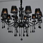 【3台から注文可】ブラックシェードクリスタルシャンデリア 10灯(Φ880×H680mm)