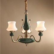 【ZHISHU】キャンドルスタイル シャンデリア 陶器製 真鍮 3灯(W580×D550×H550mm)