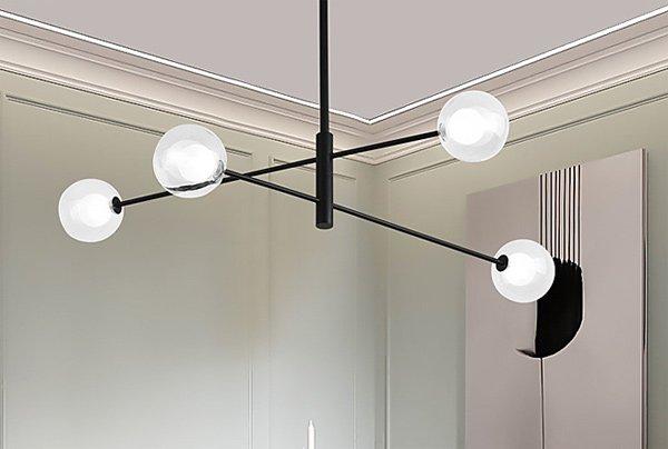 【ZHISHU】デザイン照明ガラスボールシェードシャンデリア4灯(W1070×H520〜mm)