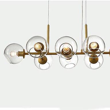 【在庫有!】【QIHengZhaoMing】ガラスボールシェード・デザイン照明8灯 ゴールド(約W950×D480×H250mm)