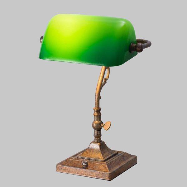 【即納可!】 バンカーズテーブルライト1灯・グリーン(W230×H310mm)