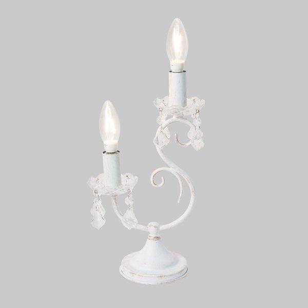【即納可!】 アンティーク調テーブルライト2灯・ホワイト(H350mm)