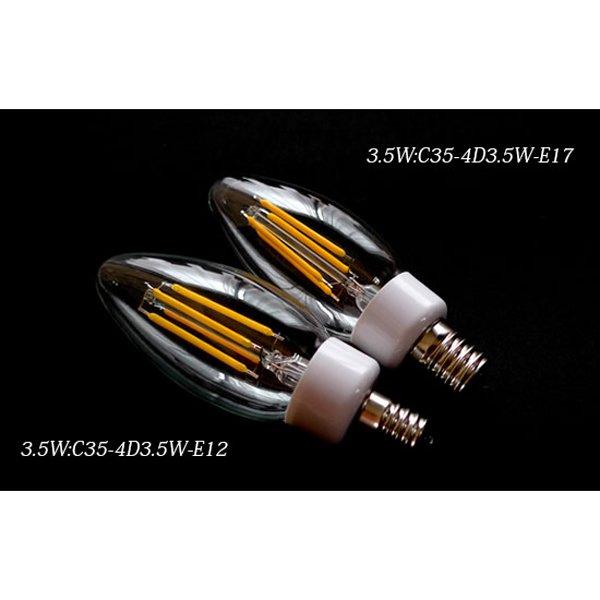【シャンデリア電球】 新LEDフィラメント電球 シャンデリア球型(E12/E17) 3.5W (Φ35×103mm)※調光対応