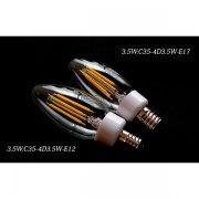 <B>【シャンデリア電球】</B>新LEDフィラメント電球 シャンデリア球型(E12/E17) 3.5W (Φ35×103mm)※調光対応