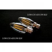 <B>【シャンデリア電球】</B>新LEDフィラメント電球 シャンデリア球型(E26/B22) 3.5W (Φ35×92mm)※調光対応
