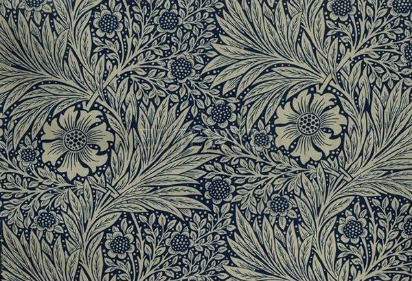 【William Morris】 アンティーク調シェードテーブルライト マリーゴールド ブルー(φ250×H450mm)