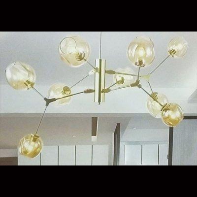 デザイン照明ガラスシェードペンダントライト9灯・ゴールド(φ800×H800mm)