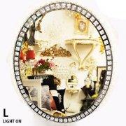 【即納可!】調光可能!キラキラクリスタル♪LEDライト付き女優ミラー♪壁掛け・Lサイズ(W60×H75cm)