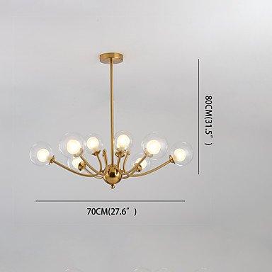 【ZHISHU】ガラスボールシェードシャンデリア9灯(W700×H800mm)