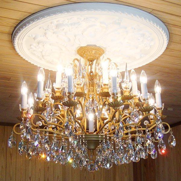 【LA LUCE】 スワロフスキーシャンデリア 16灯 マットゴールド(W800×H550mm)