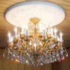 <B>【LA LUCE】</B>スワロフスキーシャンデリア 16灯 マットゴールド(W800×H550mm)