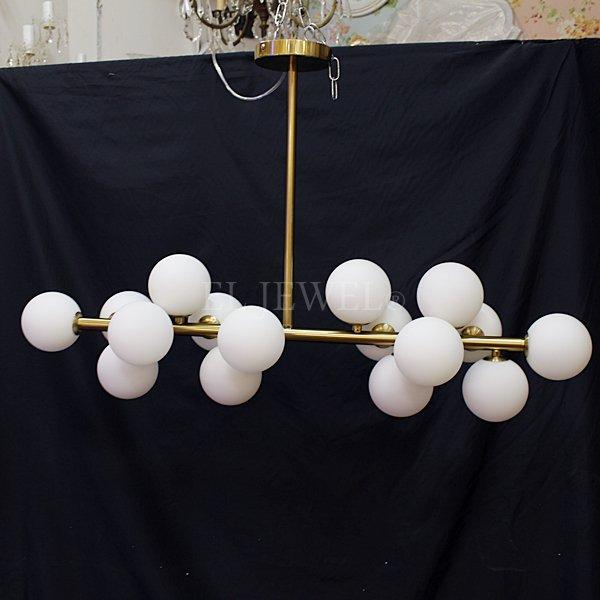 ガラスボールシェードシャンデリア・8灯or16灯・ブラックorゴールド (W550-900×H260mm)