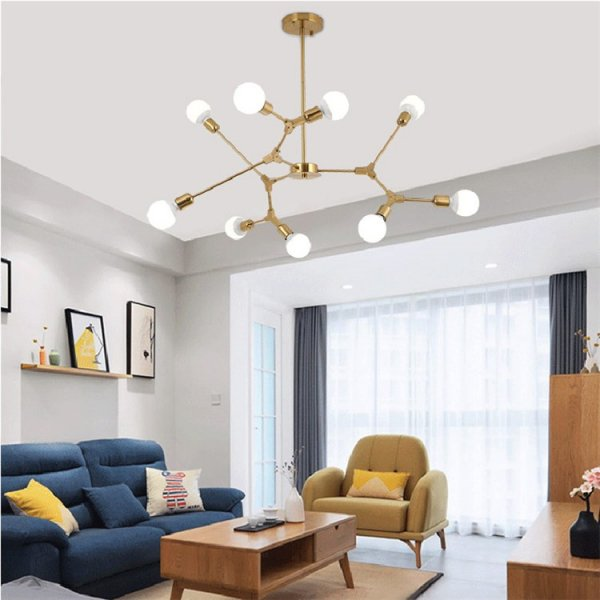 デザイン照明スプートニクシャンデリア9灯 ゴールド/ブラック(W1030×580mm)
