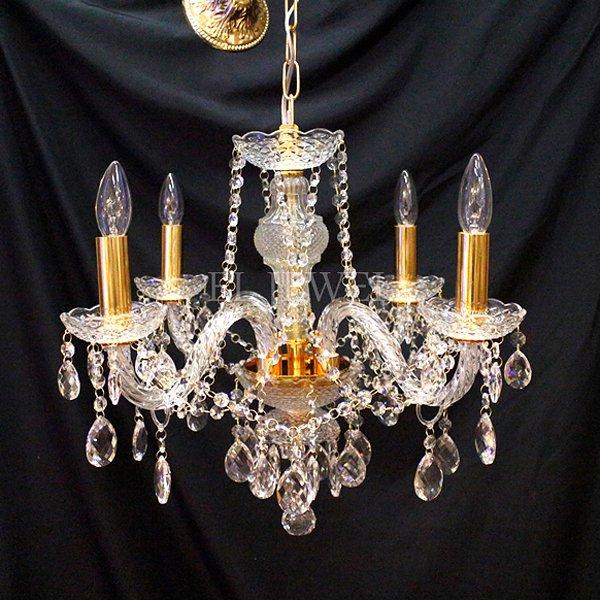 【在庫有!】【LA LUCE】 チェコクリスタルシャンデリア 4灯 クロームorゴールド(W540×H480mm)