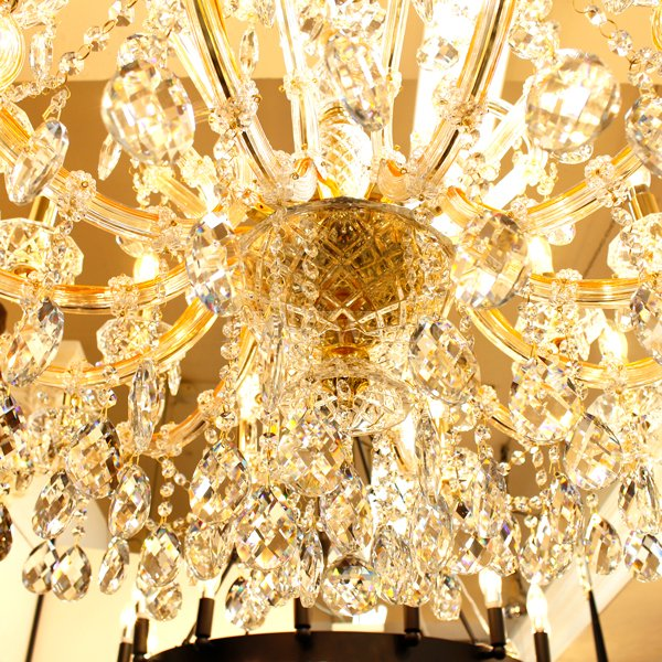 【LA LUCE】マリア・テレサ型クリスタルシャンデリア24灯 ゴールド(W1000×H700mm)