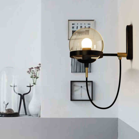 【在庫有!ゴールドのみ】【Shenzhen Vecli】デザインウォールライト 1灯 ゴールド/ブラック (Φ150×D280mm)