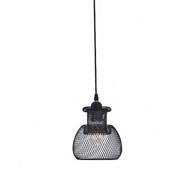 【QIHengZhaoMing】ネットシェードペンダントライト1灯・ブラック(W150×H170mm)
