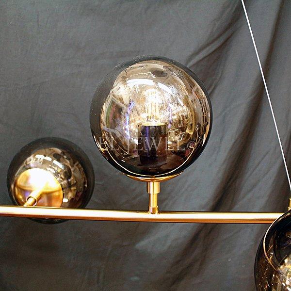 【在庫有!】【REBLE】デザインガラスボールシェード照明 6灯/4灯 ゴールド (W1200×H450mm)