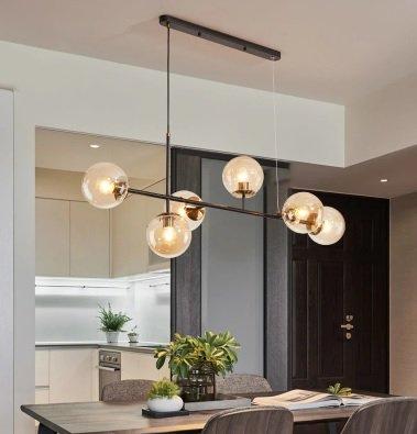【在庫有!】【REBLE】デザインガラスボールシェード照明 6灯/4灯 ゴールド (W1300×H500mm)