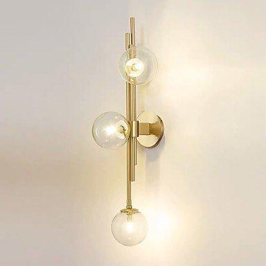 【QIHengZhaoMing】デザイン照明ガラスボールシェード・ウォールライト3灯(H740mm)