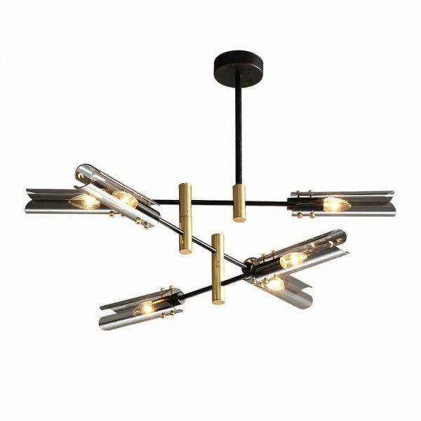 【E-Light】LEDシャンデリア グレー/アンバー 4/6/8灯 (L740〜L920mm×H510〜H640mm)