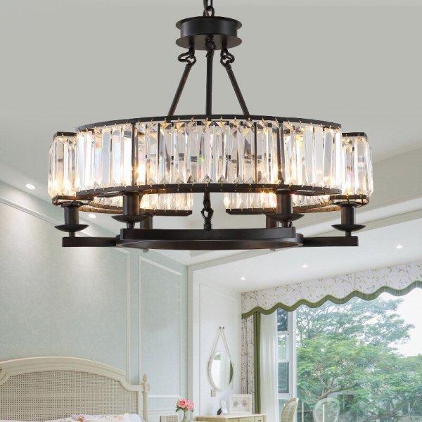 【E-Light】LEDシャンデリア ブラック/アンバー 6/8灯 (D650〜D850mm×H500〜H510mm)