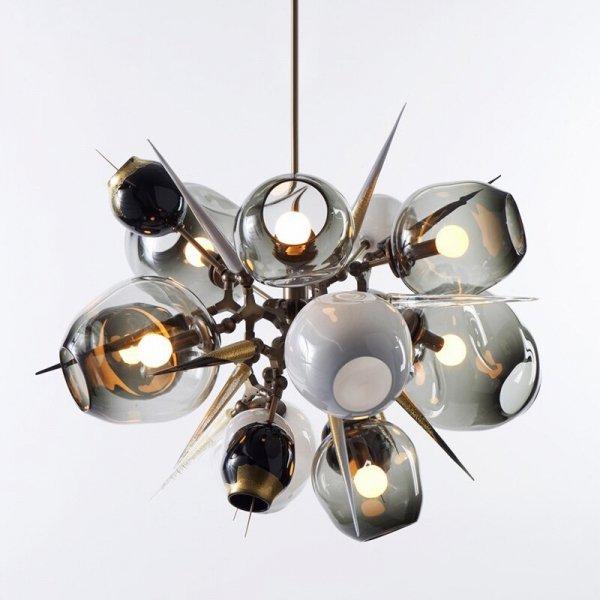 【E-Light】LEDシャンデリア ブラック/ゴールド グレーガラス/アンバーガラス 5/10灯 (D900mm×H800〜H900mm)
