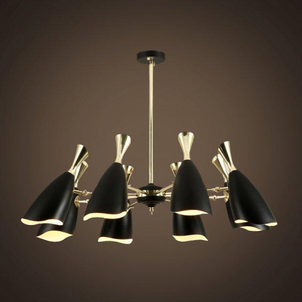 【E-Light】LEDペンダントライト ブラック/ホワイト 6/8/10/12/18灯 (D800〜D1350mm×H320〜H750mm)
