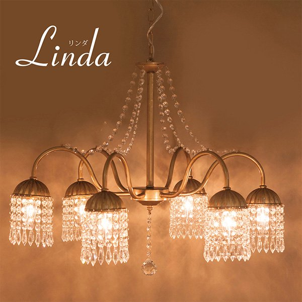クリスタルガラスシャンデリア6灯「LINDA リンダ」・ゴールド(φ700×H550)